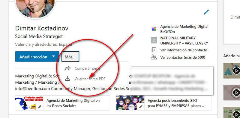 Guardar un perfil en formato PDF en LinkedIn
